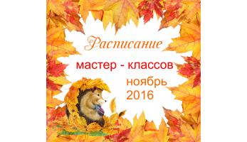 Новое расписаие мастер - классов наноябрь  2016!